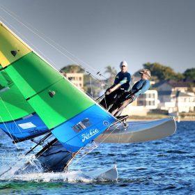 Darren and Claire Flying a hull - image Lindsay Preece Ironbark Photos