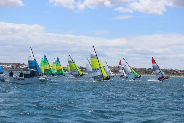 Hobie Cat 16's flying off the start - image Kathy Miles